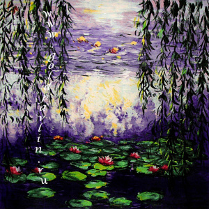"Платок картина Claude Monet ""Водные лилии и ветви ивы (Water Lilies and Weeping Willow Branches)"" 1916-19 г."